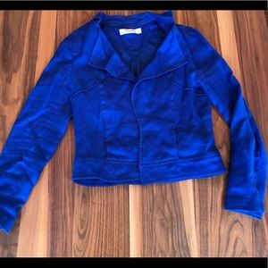 Zara Basic Blue Linen Blazer